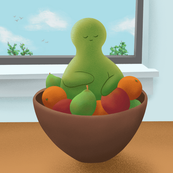 Illustration of a green creature resting in a bowl of fruit